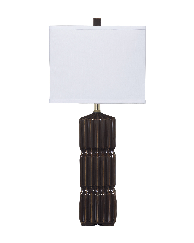 Furnituremaxx Dark Brown Ceramic Table Lamp Set of 2