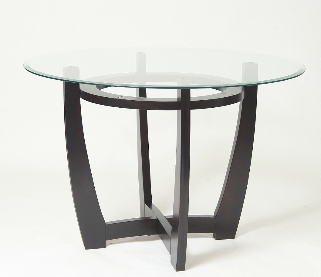Great Espresson Wood Table With Glass Top