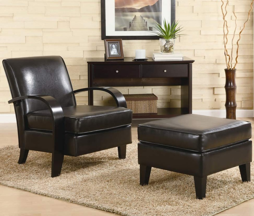 Leather Accent Chair With Ottoman Roundhill Furniture