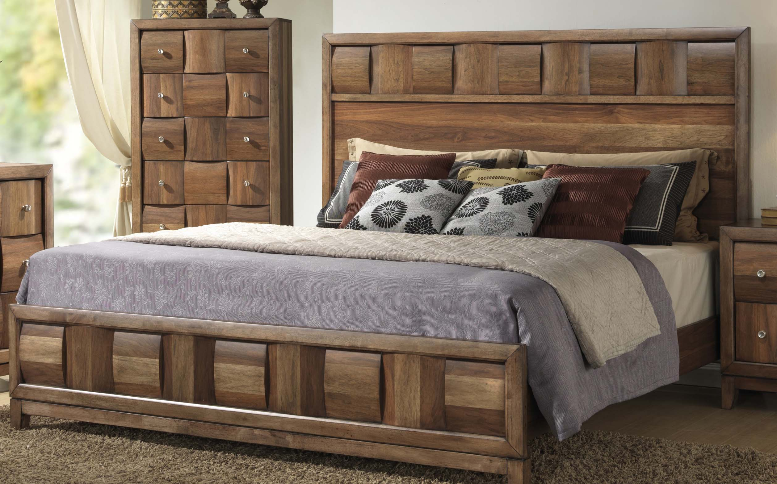 calais walnut finish solid wood construction bedroom set queen bed