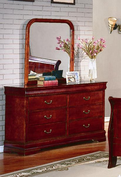 Furnituremaxx.com Isola Louis Philippe Solid Wood Construction Fully Assembled Dresser & Mirror , Cherry Finish at Sears.com