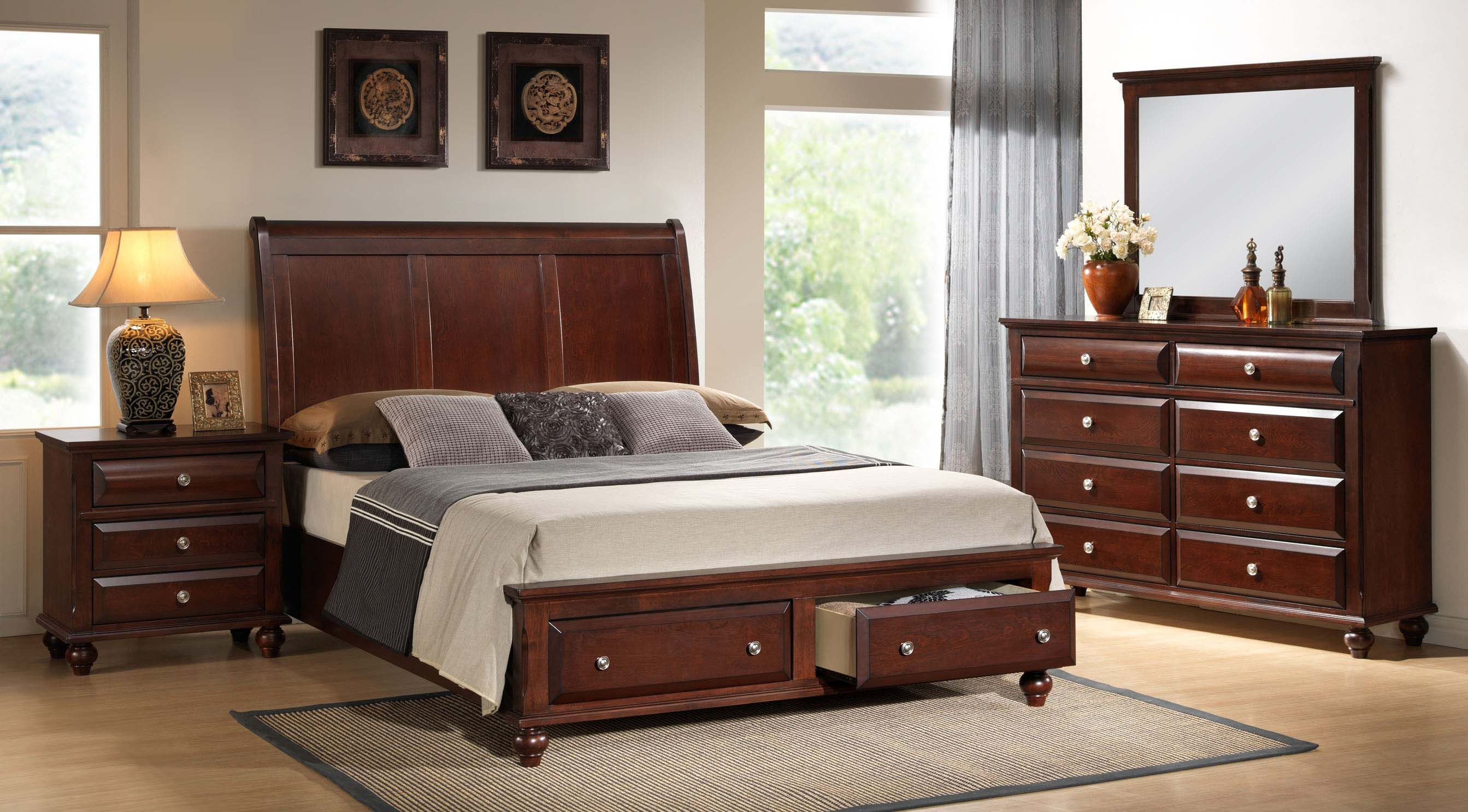 concord cherry finish wood bedroom set queen plateform bed dresser