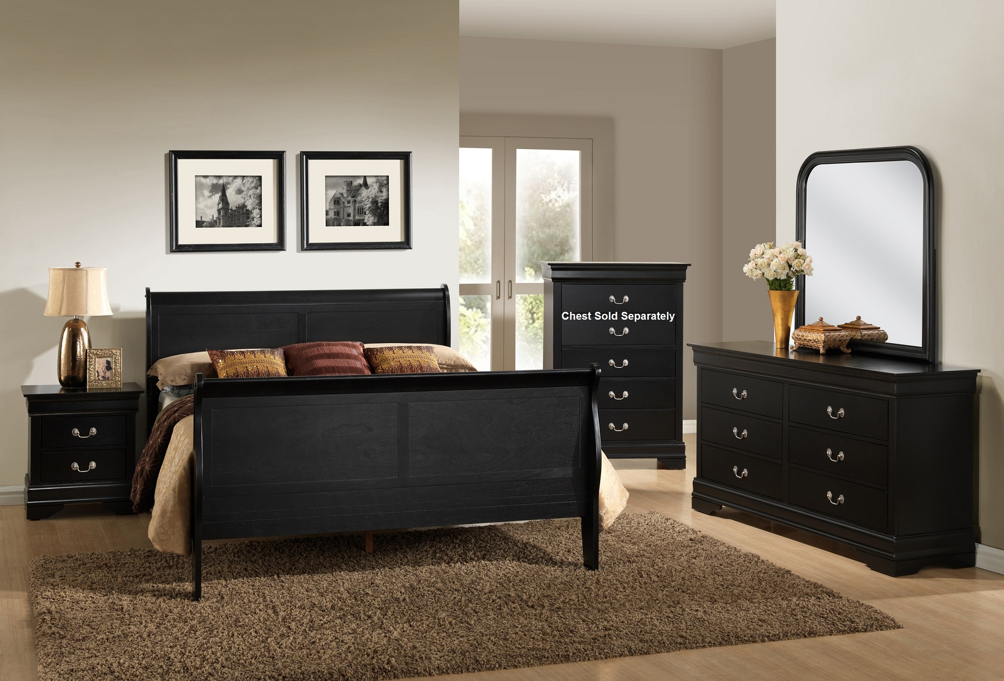 Furnituremaxx Isony 594 Black Louis Philippe Style Wood Bedroom Furniture Set Queen Bed