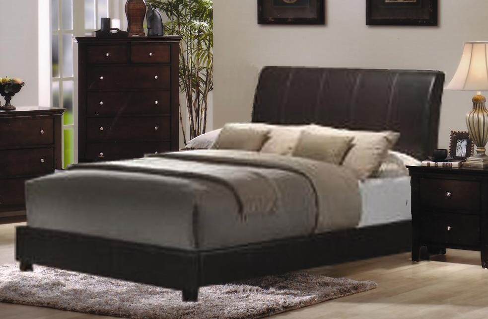 Charmel 600PL Full Size Bonded Leather Bed W Low Footboard