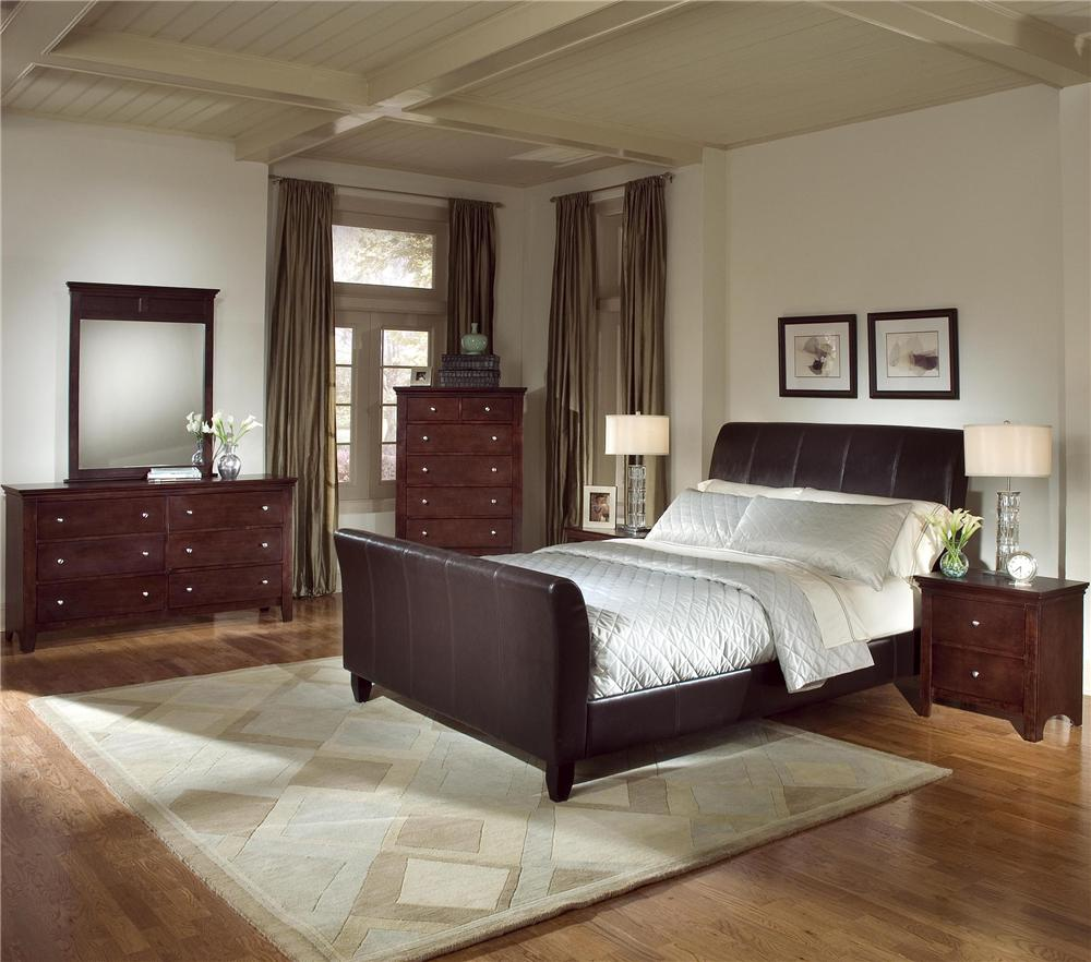 Furnituremaxx.com 5pc Cherry Finish Bundled Leather Bedroom Set (King Bed, Dresser, Mirror, 2 Night Stands) at Sears.com