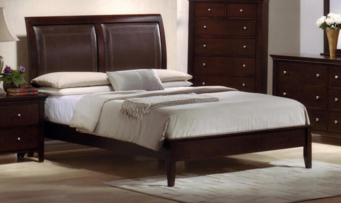 charmel king size solid wood construction leather padded bed cherry finish low footboard
