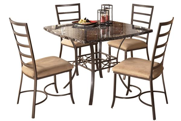 5 PC Faux Marble And Metal Dining Room Set