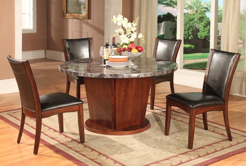 5PC Dark Cappoccino Finish Artificial Marble Dining Set