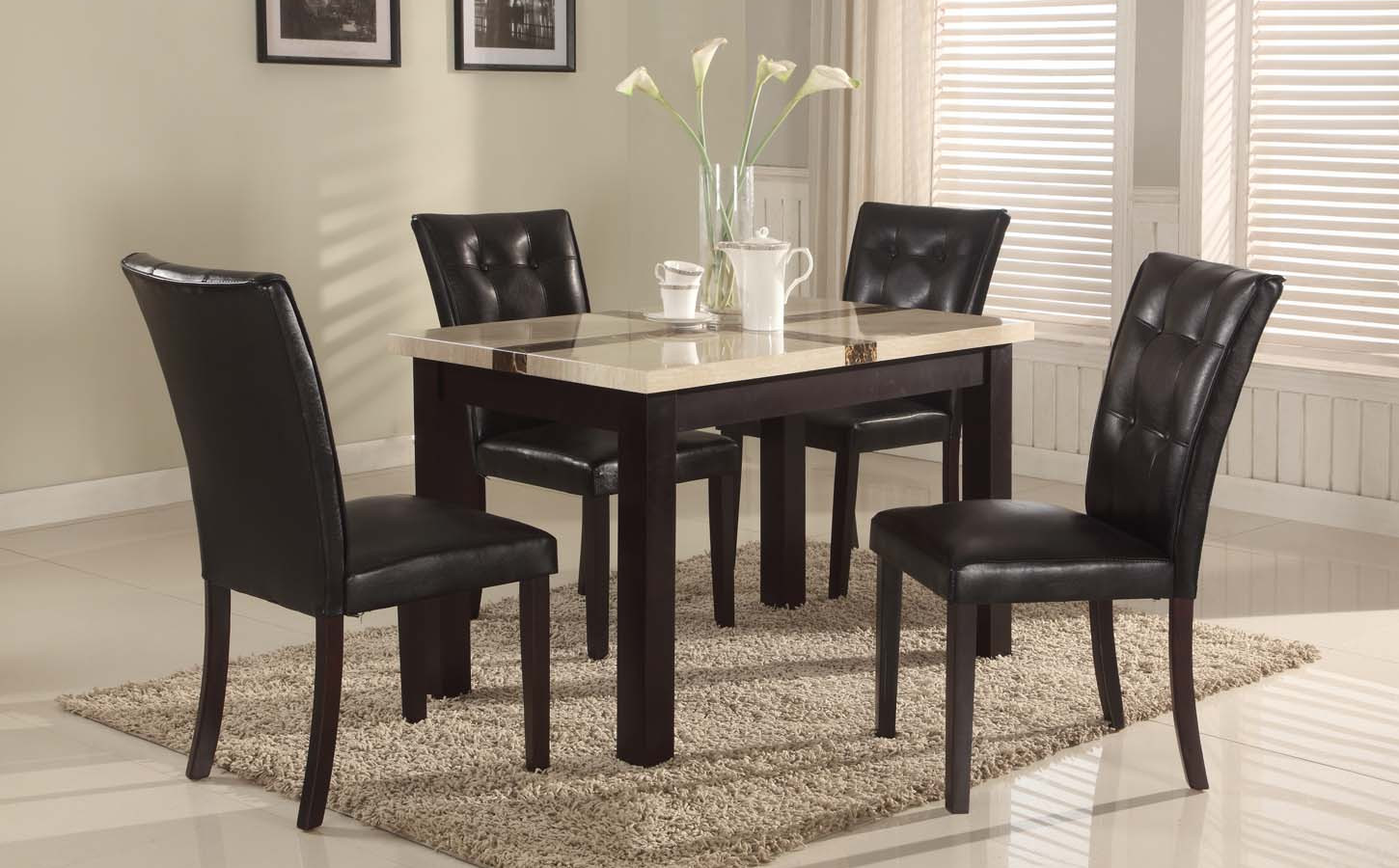 5 Pc Faux Marble Top Dinette Dinning Set , Dining Table 4 Chairs