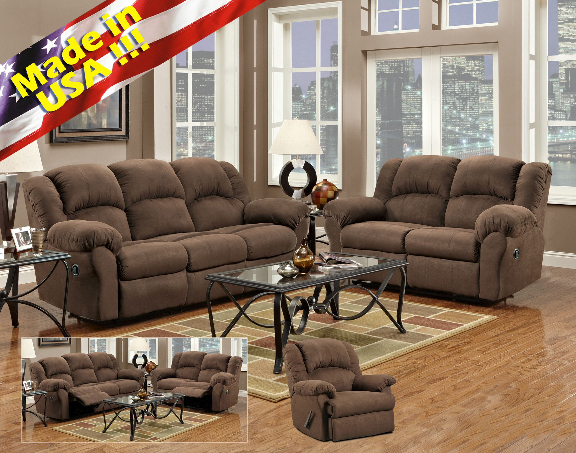 Brown microfiber living room set - Microfiber living room furniture sets ...