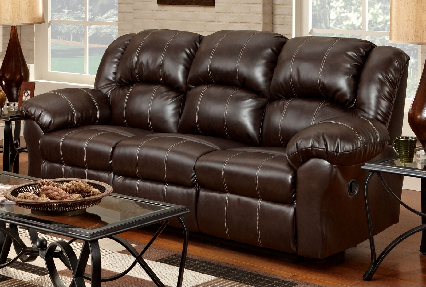 Roundhill Furniture ~ Leather Dual Reclining Sofa