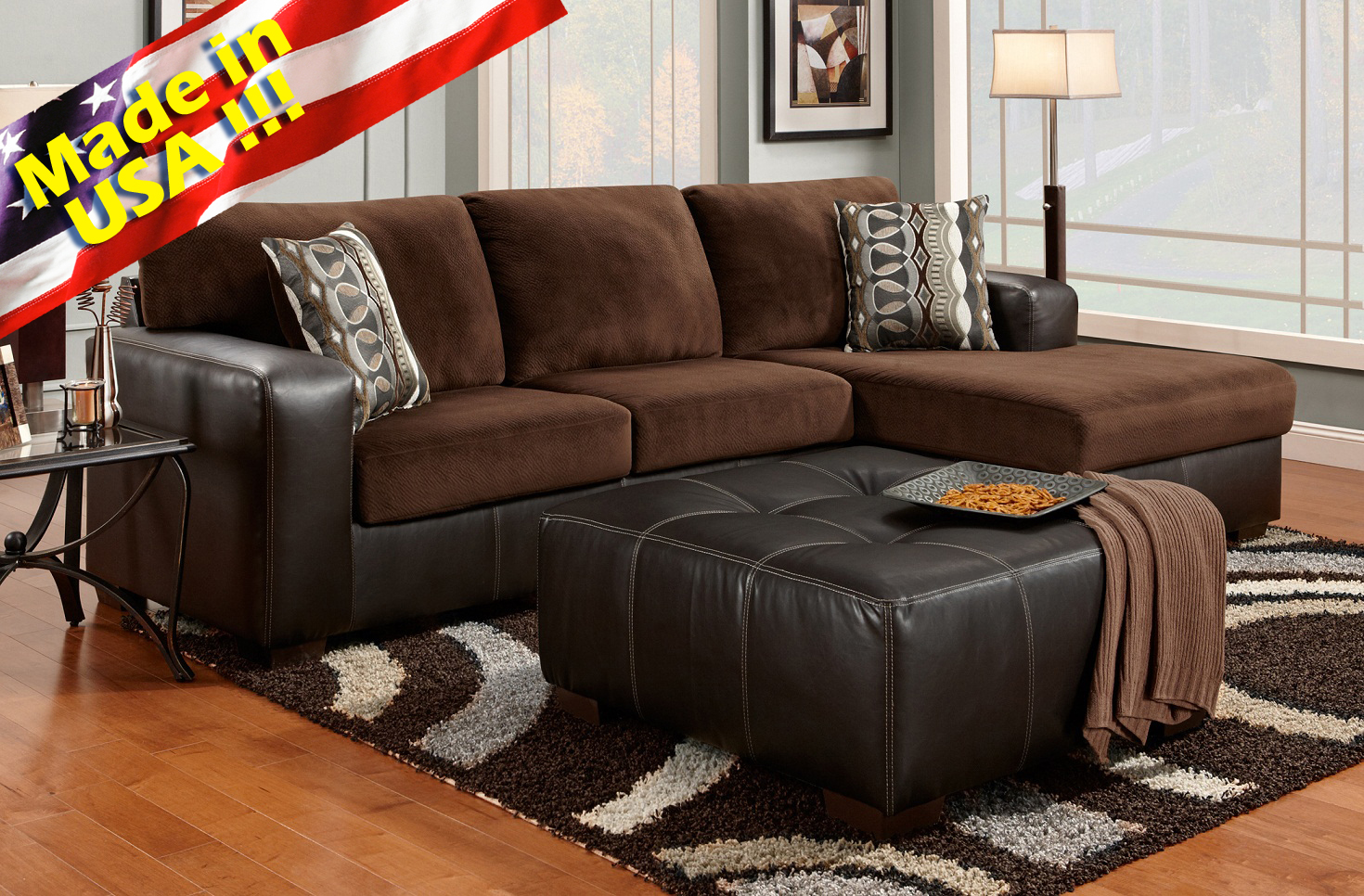Roundhill Furniture ~ Chocolate Sectional Sofa Set With Chaise