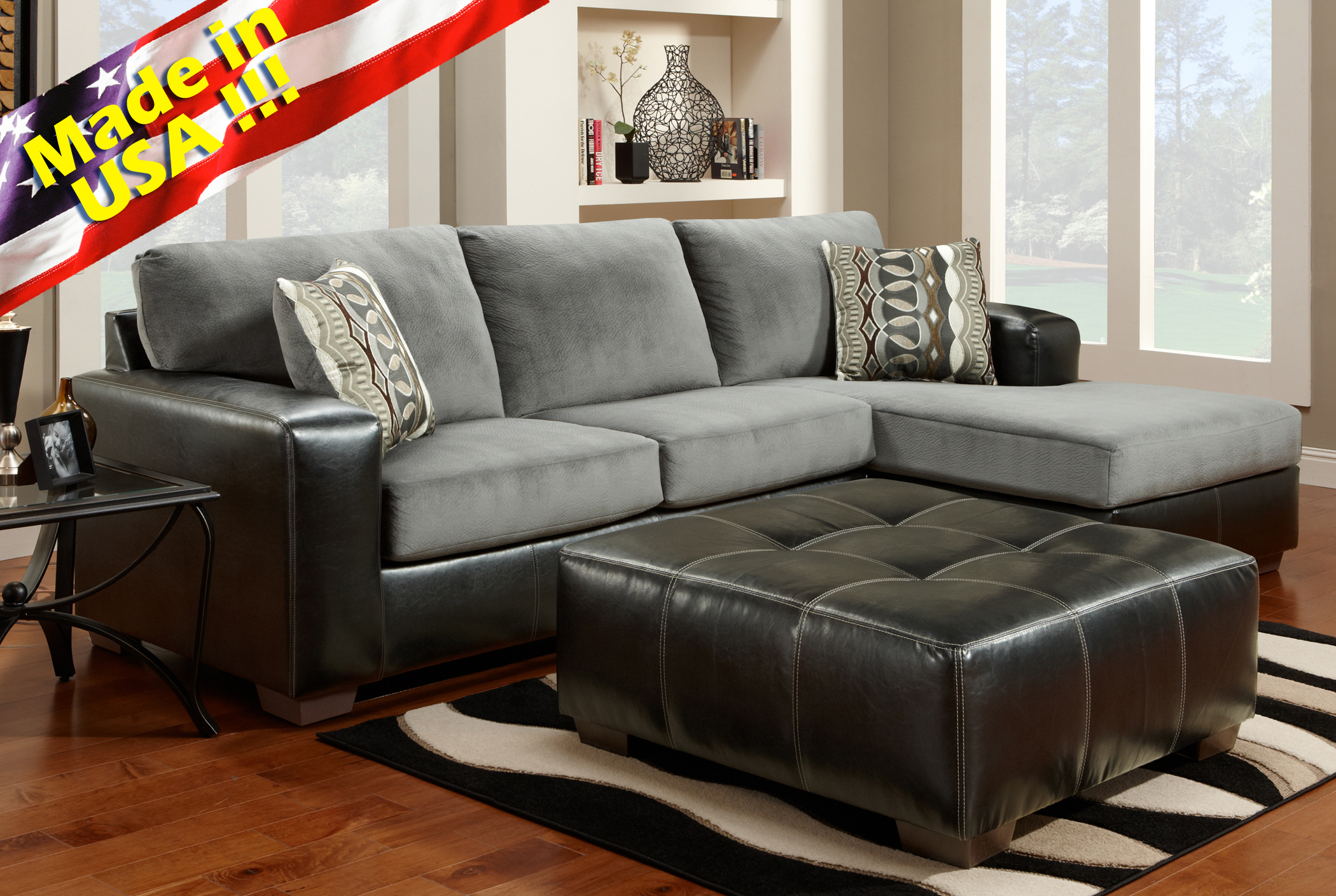 Cumulus Black Gray Two-toned Sectional Sofa Chaise Set Made In USA : two tone microfiber sectional - Sectionals, Sofas & Couches