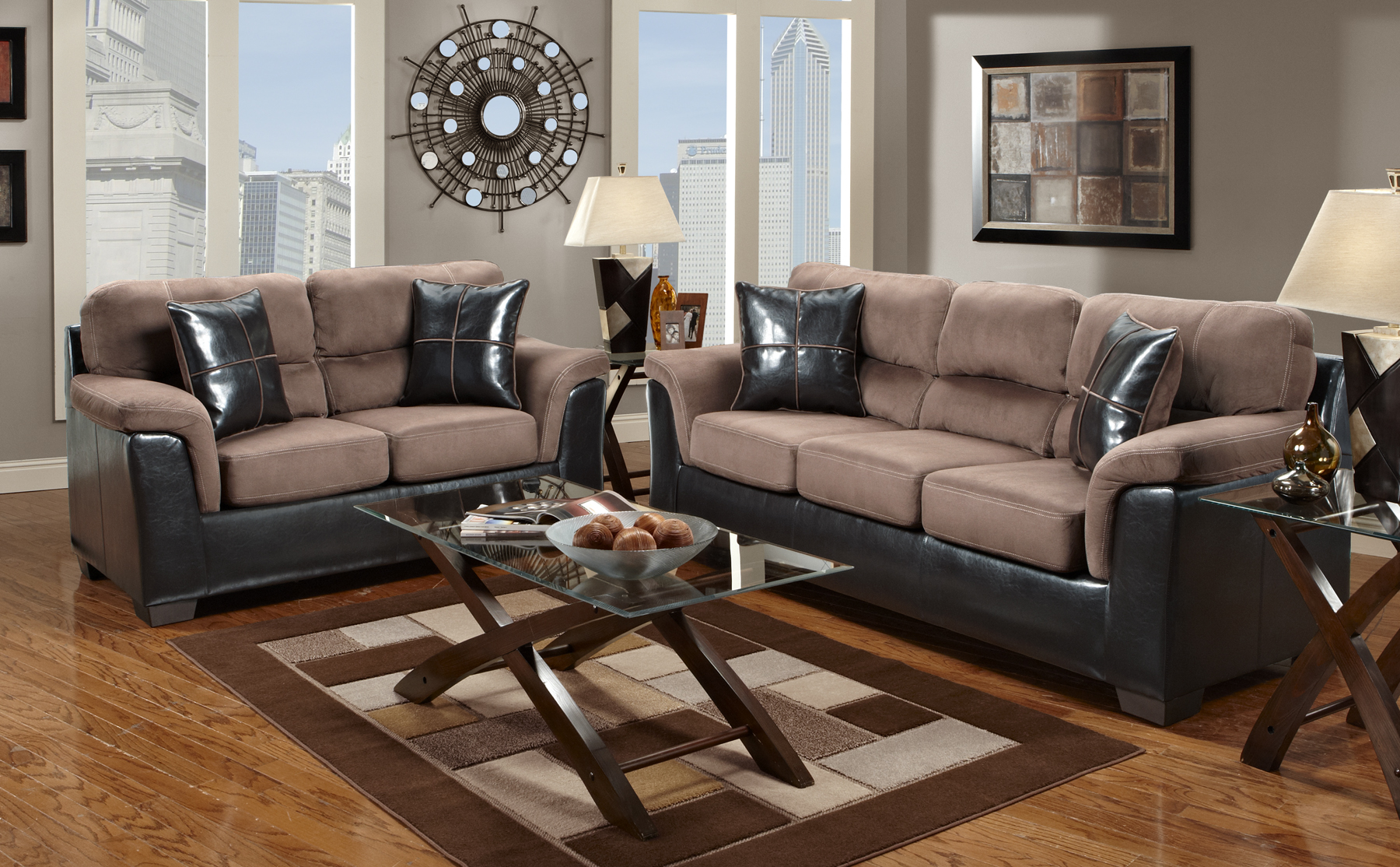 Microfiber Living Room Set Roundhill Furniture