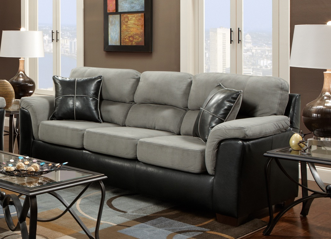 Delightful Laredo Black And Grey Two Tone Sofa And Loveseat Living Room Set, Made In  USA Item No: LAF6200LG Part 4