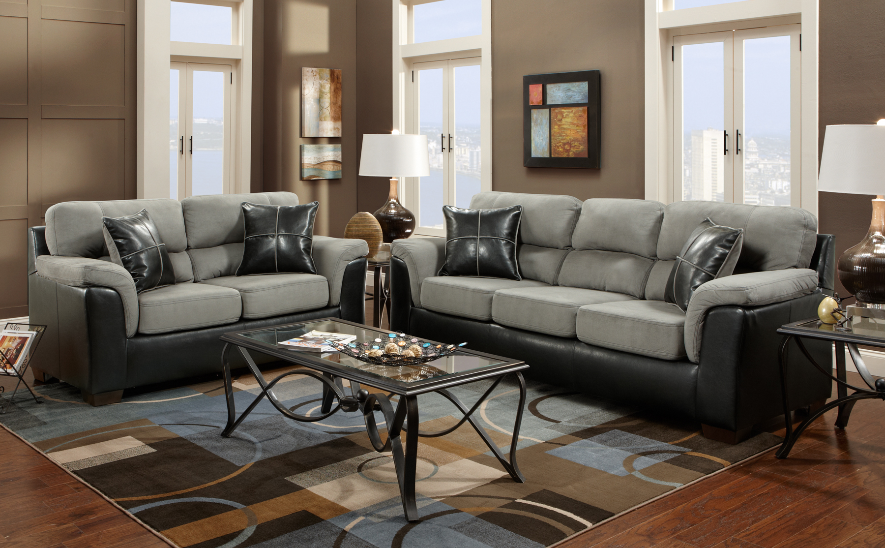 black living room furniture set.  Roundhill Furniture