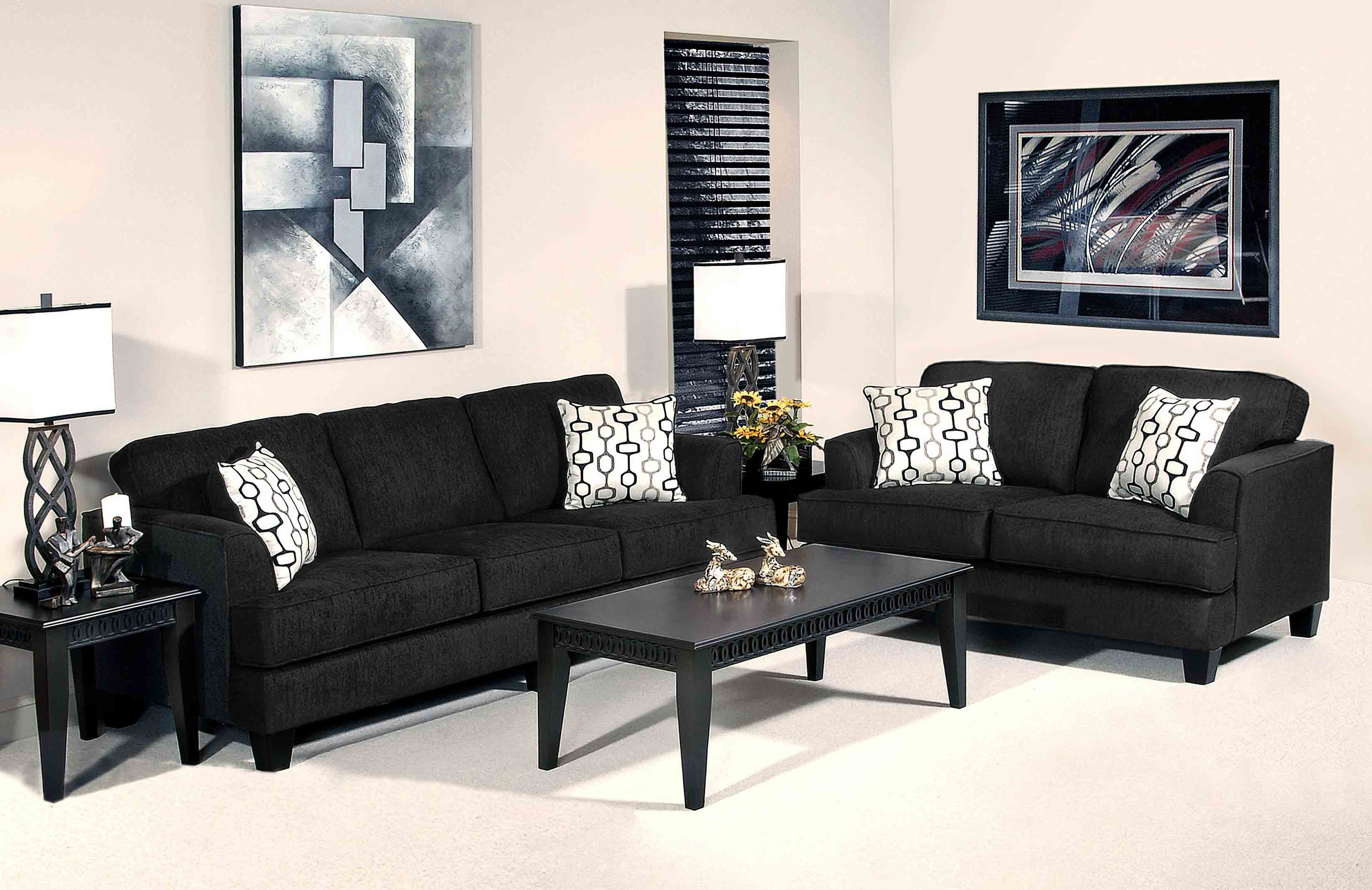 Black Microfiber Sofa And Loveseat Set