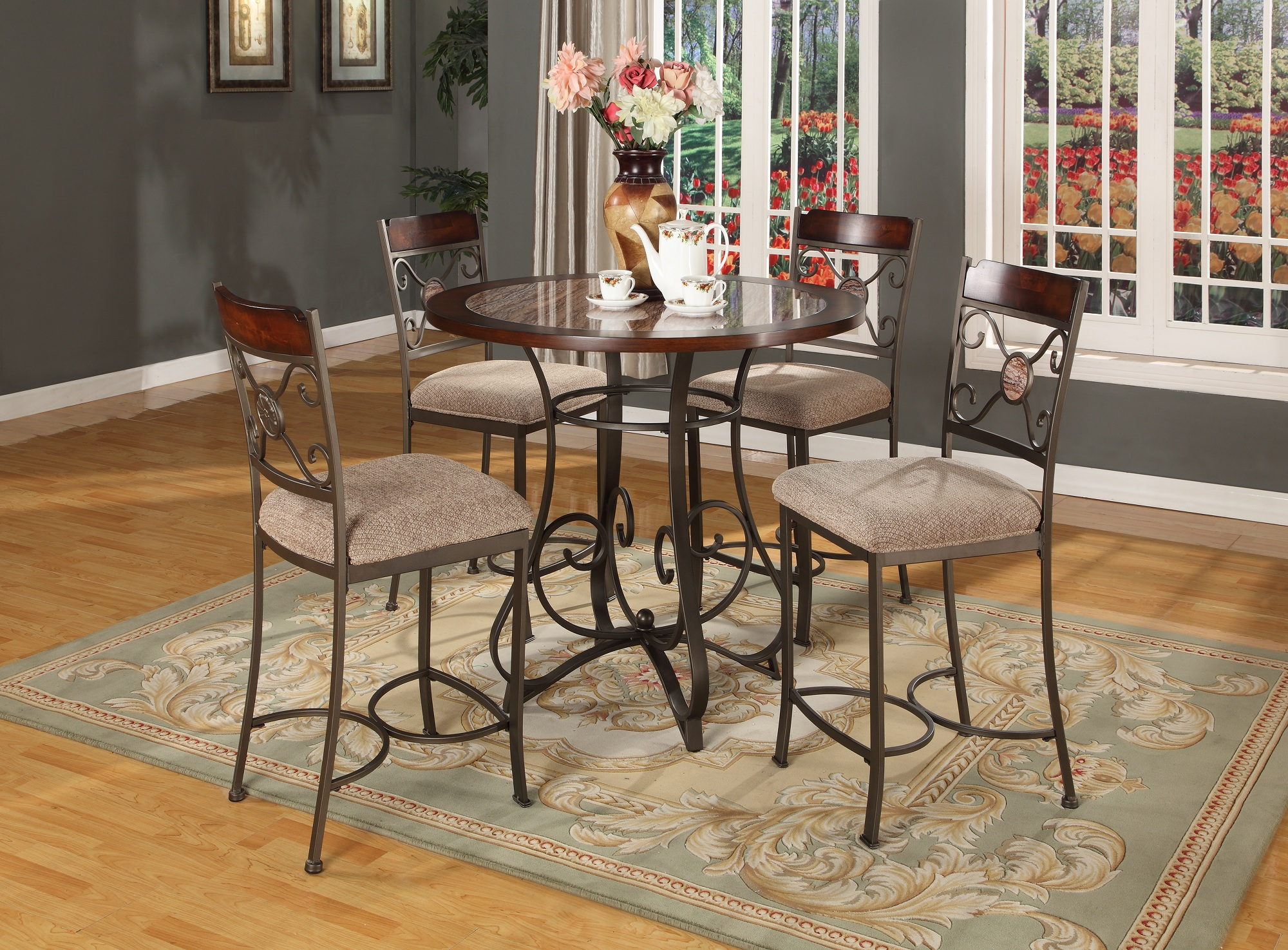 5pc Round Artificial Cherry Color Marble Top Counter Height Dining Set (1  Table U0026 4 Stools)