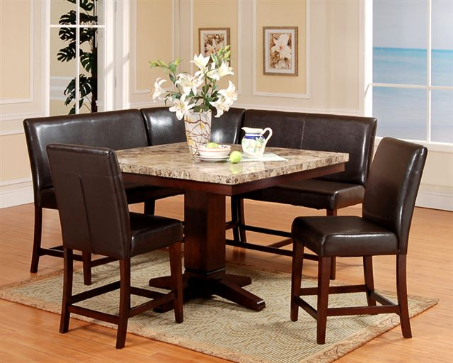 6 Pc Counter Height Artificial Marble Top Square Pedestal Dining Set