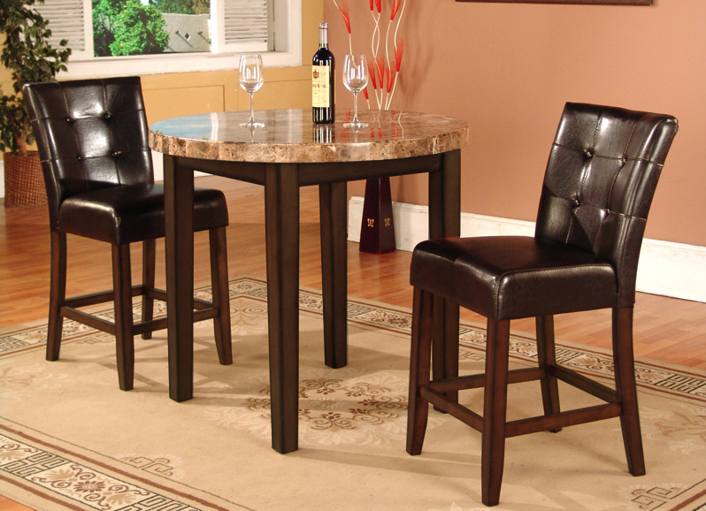 3 Pc Faux Marble Top Counter Height Bar Set  Table with 2 Stools : breakfast table set with stools - pezcame.com