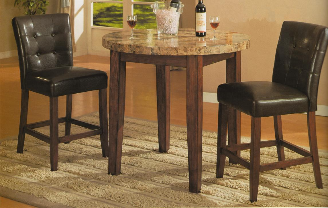 Roundhill Furniture - Marble top bar height dining table