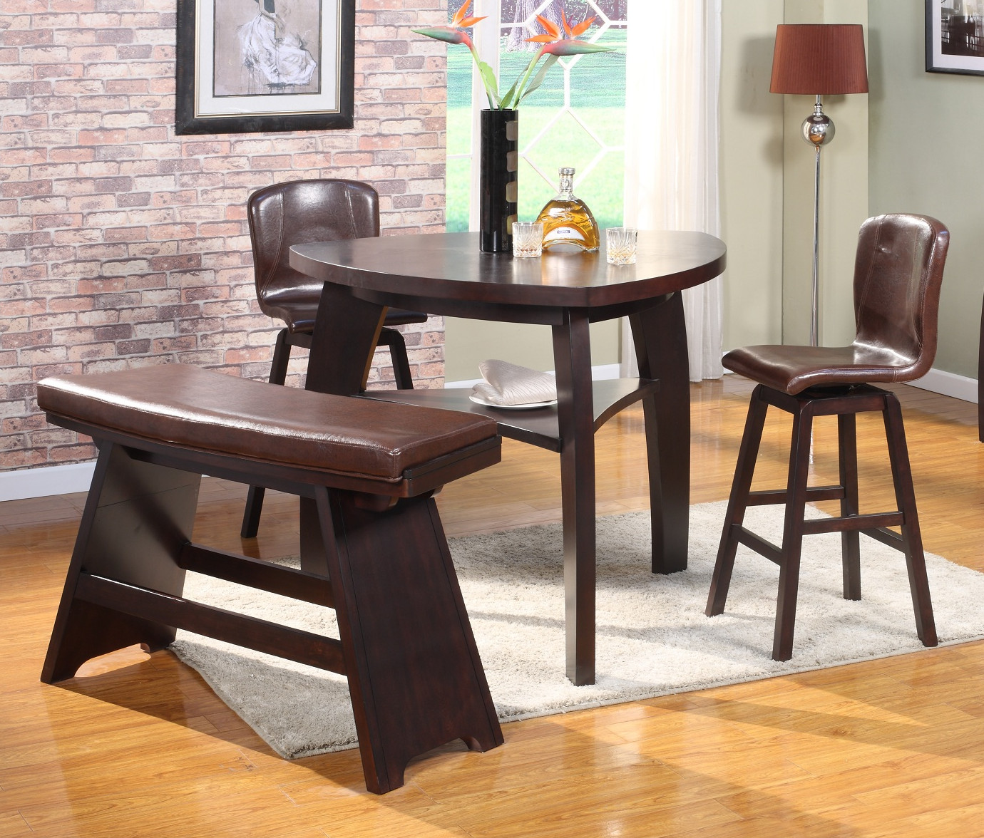 Roundhill Furniture - Triangle dining table set