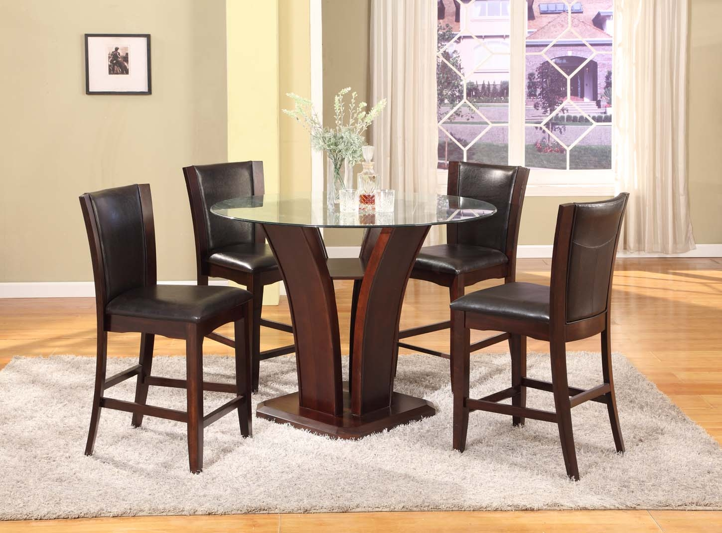 5PC Dark Cappoccino Finish Glass Top Counter Height Dining Set
