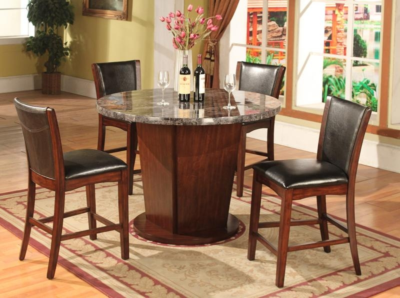 5PC Dark Cappoccino Finish Artificial Marble Counter Height Dining Set