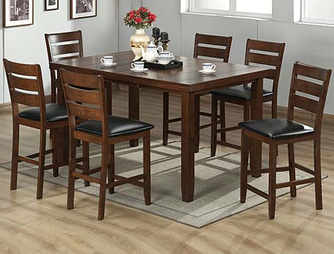 Merveilleux 7pc Cherry Finish Solid Wood Counter Height Dining Set Item No: P5454 7PC