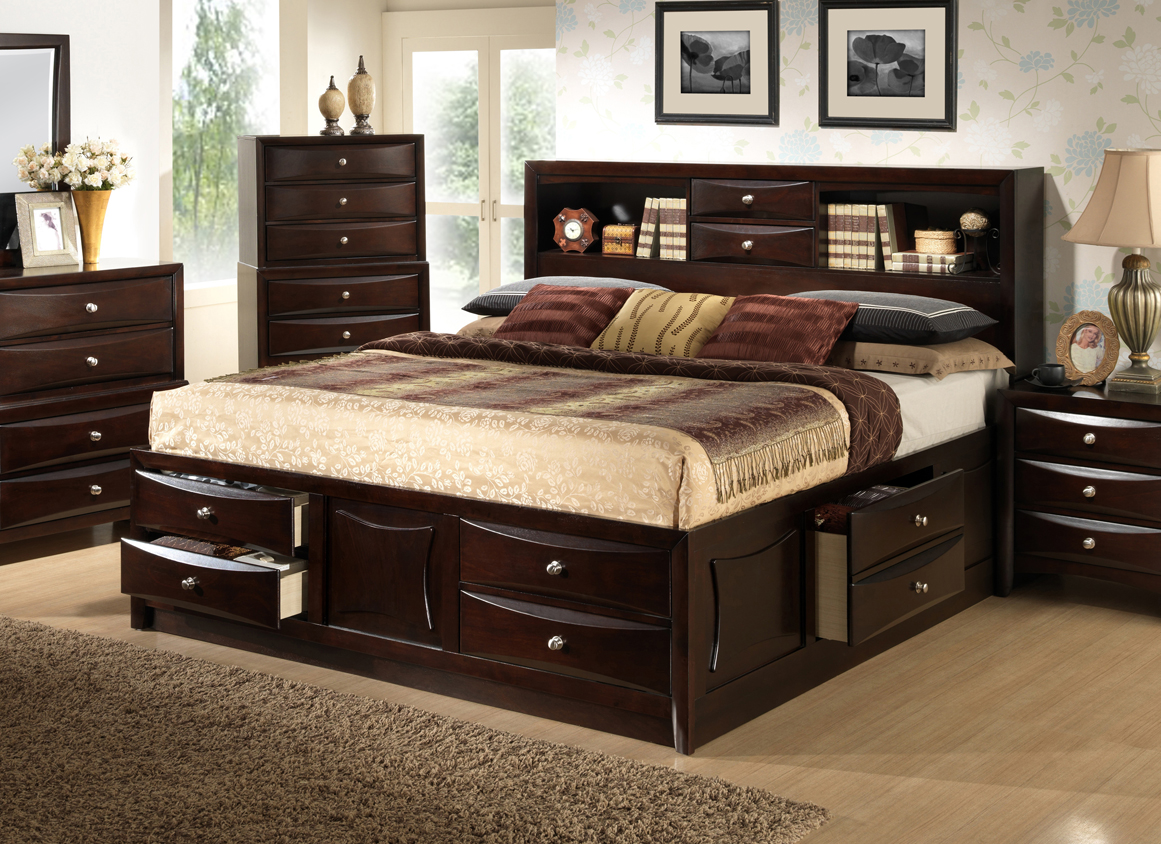 Ankara Solid Wood Construction Espresso Storage King Size Bed