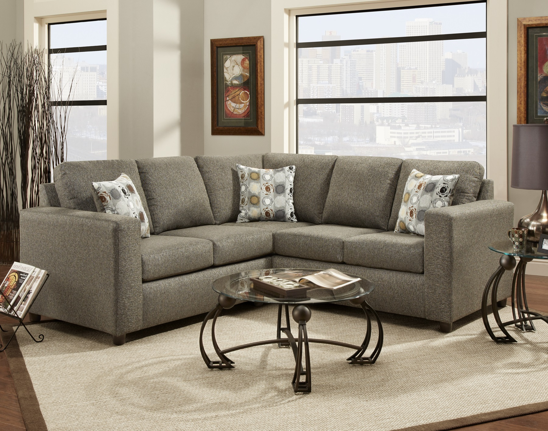 Vivid Onyx fabric Sectional Sofa w/ 3 Pillows , Made In USA