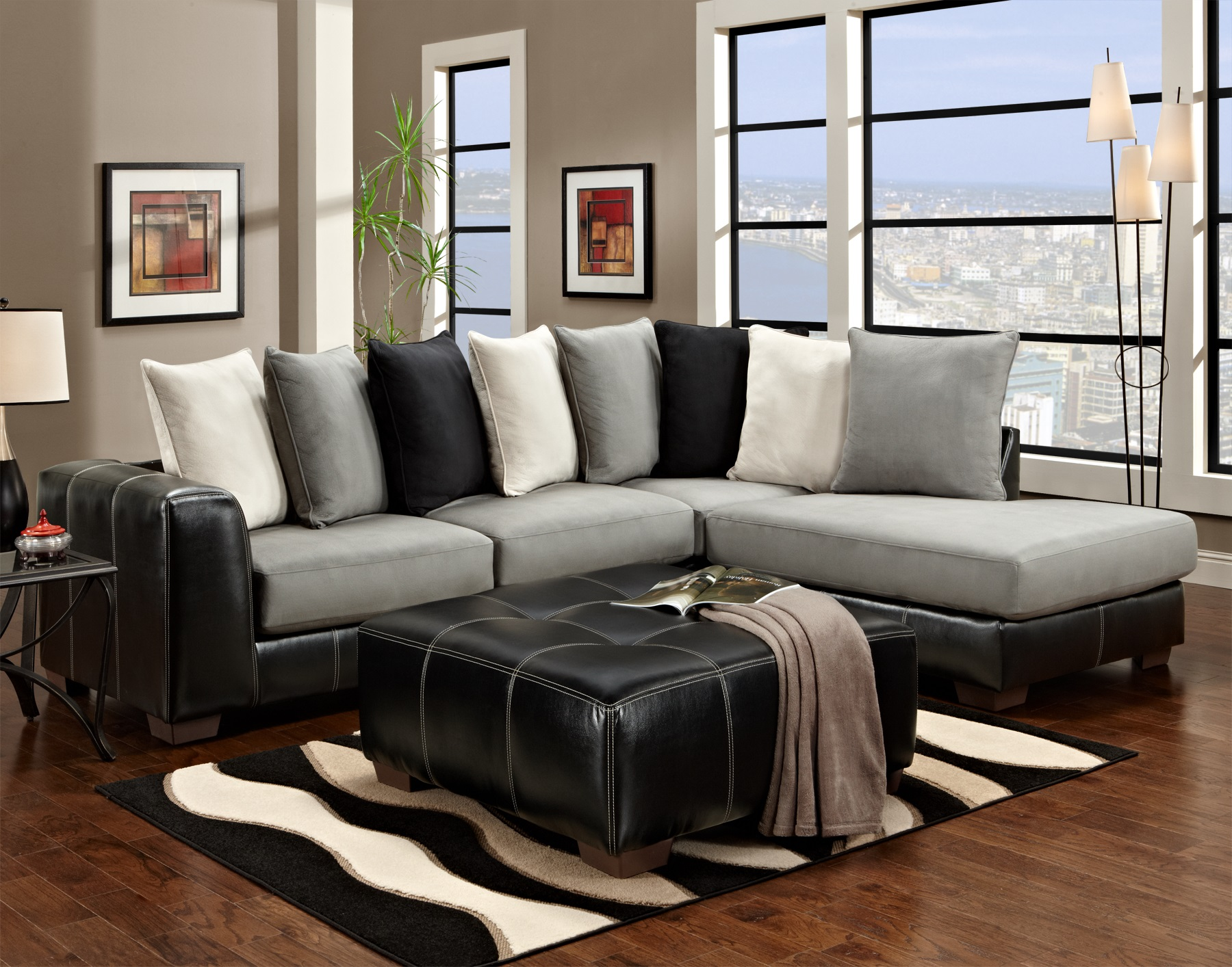 Idol Steel Sectional Sofa With Black Ottoman