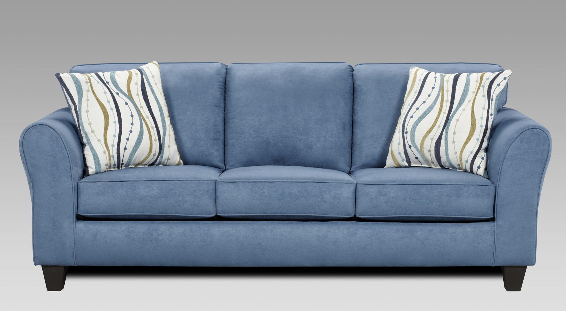 Blue Microfiber Sofa And Loveseat